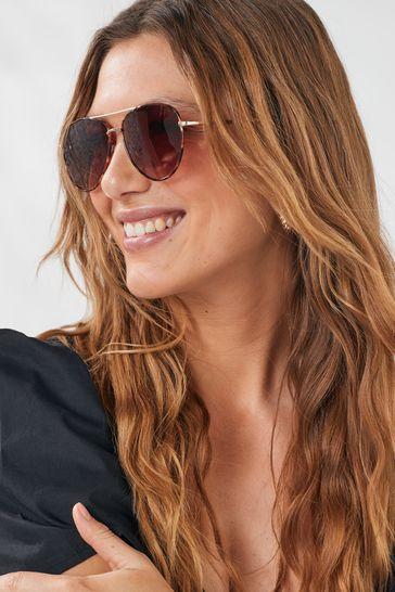 Tortoiseshell Effect Classic Aviator Style Sunglasses