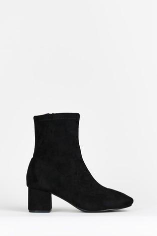 Evans Curve Extra Wide Fit Black Sock Boots