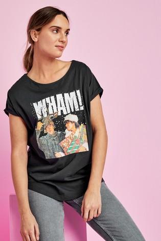 Wham! Curved Hem T-Shirt