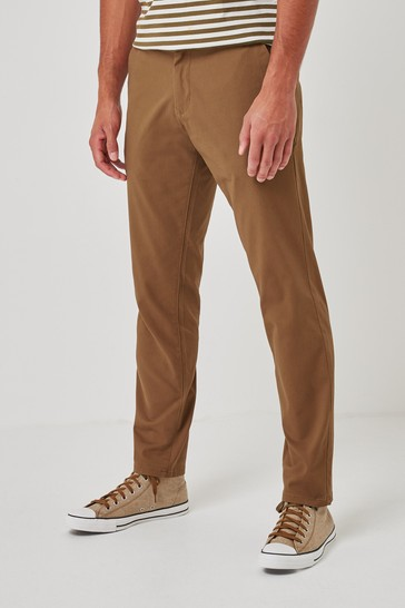 Tan Slim Fit Stretch Chino Trousers