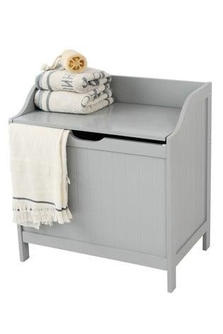 Lloyd Pascal Grey Painted Laundry Hamper