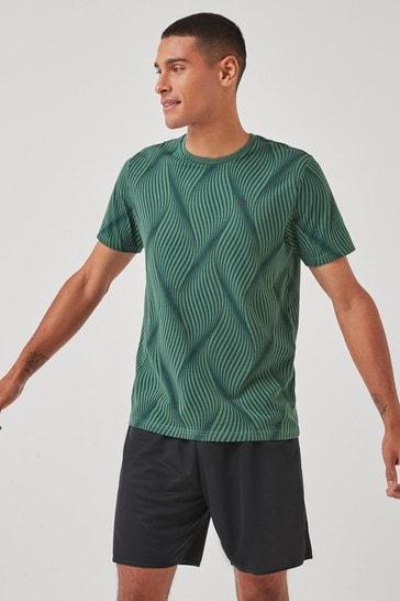 Khaki Green Geo Print Short Sleeve Tee Next Active Sports