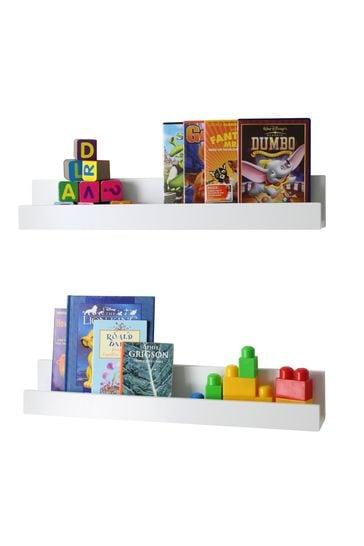 Set Of 2 White Shelves By Lloyd Pascal