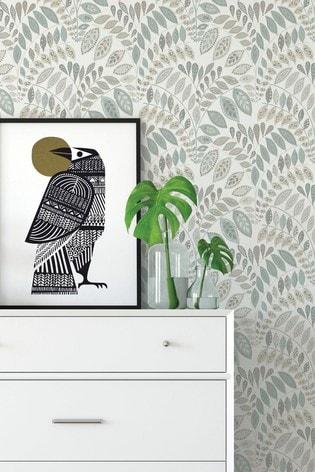 A Street Grey/Green Floral Wallpaper