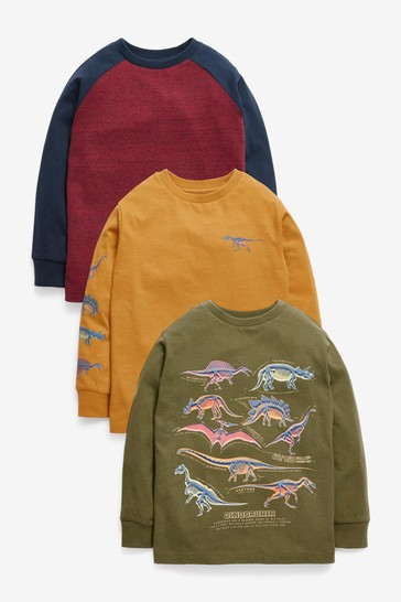 Khaki Green/Yellow 3 Pack Graphic Long Sleeve T-Shirts (3-14yrs)