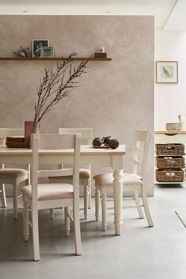 Dorset White Pair Of Upholstered Dining Chairs by Laura Ashley