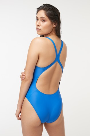 adidas Blue Solid Fit Swimsuit