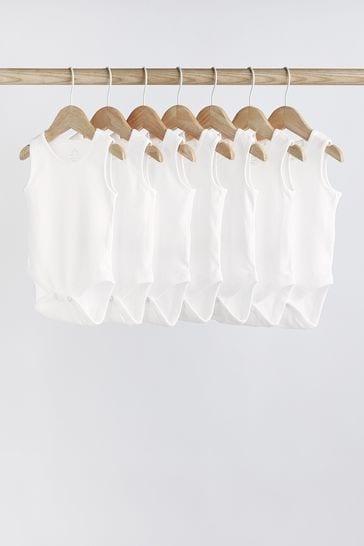 White 7 Pack GOTS Organic Cotton Vest Bodysuits (0mths-3yrs)