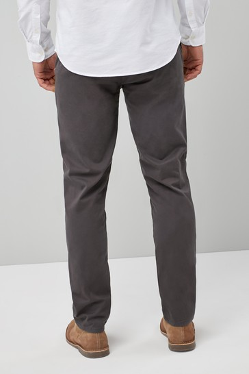Dark Grey Straight Fit Stretch Chinos