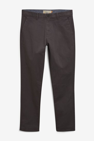 Dark Grey Straight Fit Stretch Chino Trousers