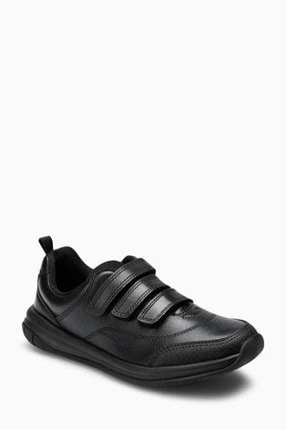 Clarks Black Leather Hula Thrill Triple Velcro Shoe