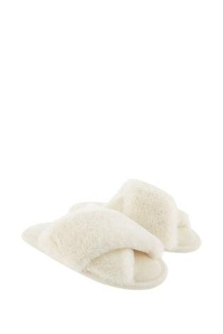 Accessorize Cream Luxe Faux Fur Sliders