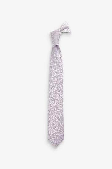 Silver Floral Silk Tie (1-16yrs)