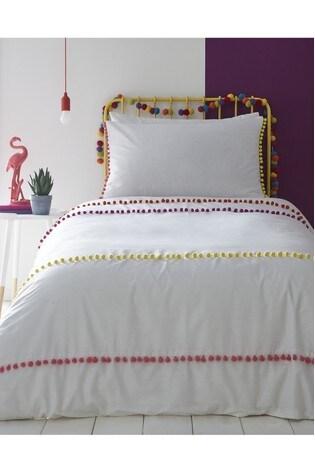 Appletree Pom Pom Stripe Cotton Duvet Cover and Pillowcase Set
