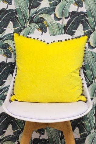 Riva Home Velvet Pom Pom Cushion