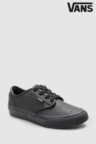 Vans Infant Black Leather Atwood Trainers