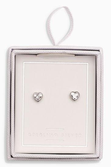 Sterling Silver Delicate Heart Stud Earrings