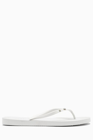 White Diamanté Flip Flops