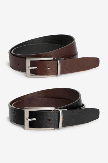 Black/Brown Reversible Leather Grain Belt