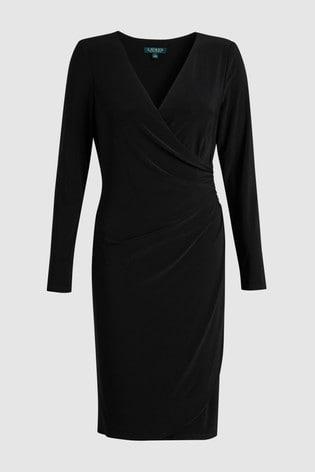 detailing autumn shoes recognized brands Buy Lauren Ralph Lauren® Black Long Sleeve Wrap Dress from Next Turkey