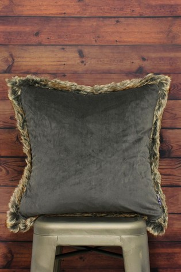 Riva Home Grey Kiruna Velvet And Faux Fur Trim Cushion
