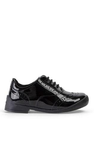 Kickers® Black Bridie Lace-Up Patent Brogues
