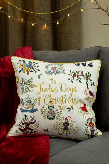 Furn White Twelve Days Of Christmas Cushion