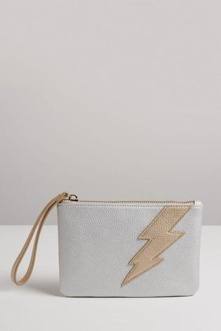Oliver Bonas Metallic Lightning Bolt Pouch