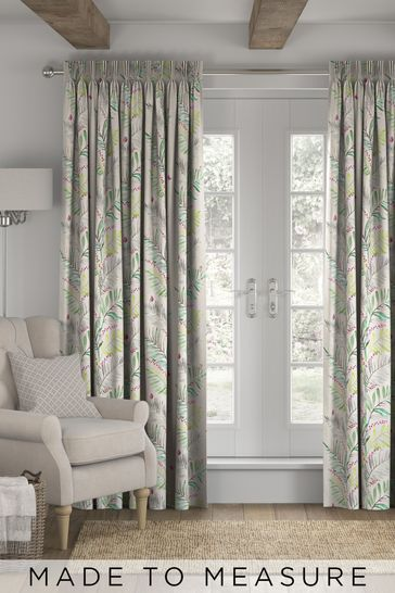 Botanical Print Green Made to Measure Curtains