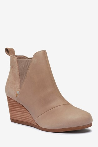 TOMS Kelsey Leather Wedge Ankle Boots