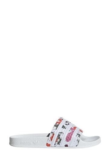adidas Originals White Adilette Sliders