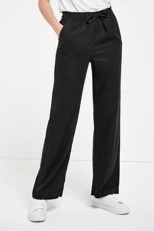 Black Linen Blend Wide Leg Trousers