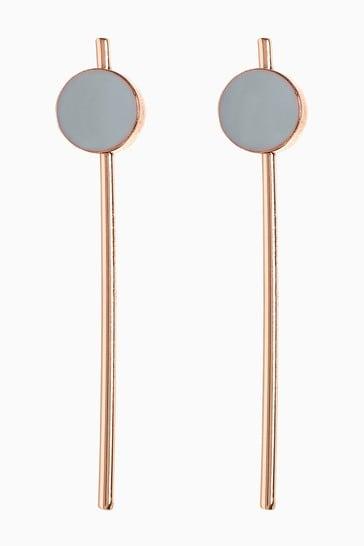 Oliver Bonas Grey Mel Enamel Circle And Rod Drop Earrings