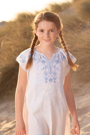 Trotters London Blue Embroidered Beach Dress
