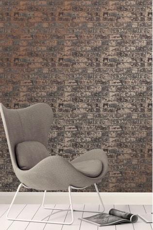 Fine Décor Bronze Loft Brick Wallpaper
