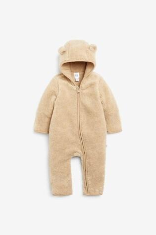 Gap Baby Bear Sherpa Fleece Sleepsuit With Ears