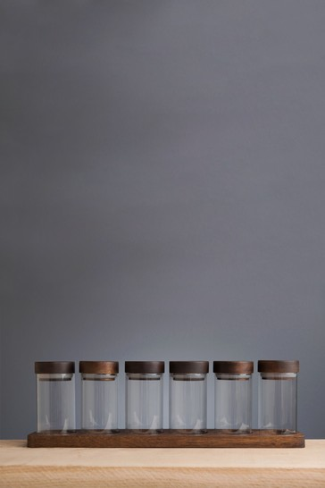 Set of 6 Artisan Street Unfilled Spice Jars With Wooden Stand