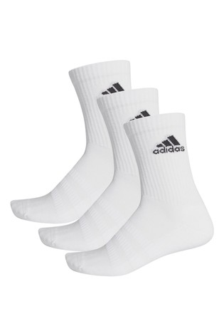 adidas Adult White Crew Sock Three Pack
