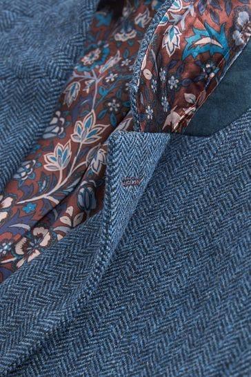 Bright Blue Slim Fit Signature Herringbone Blazer