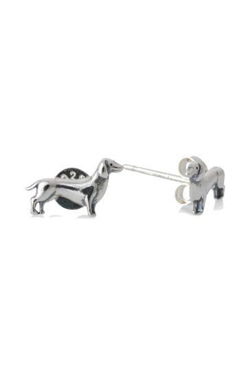 Oliver Bonas Sid Sausage Dog Silver Tone Stud Earrings