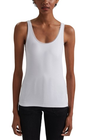 Esprit White Ribbed Sleeveless Top With Lace