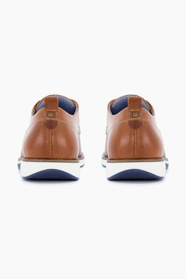 Dune London Brown Balad Punched Plain Wedge Gibson Shoes