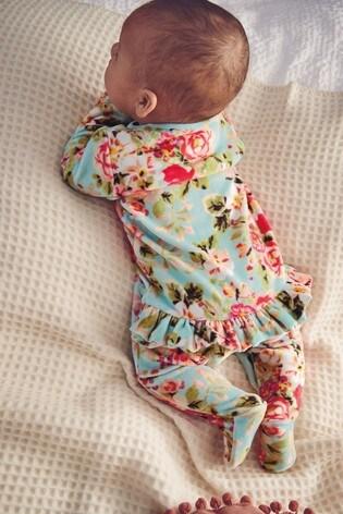 Teal Floral Velour Sleepsuit (0mths-2yrs)