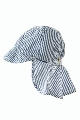 Frugi Organic Cotton Blue/White Seersucker Legionnaire's Hat