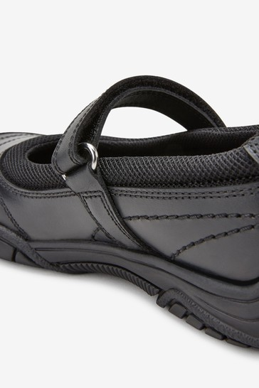 Black Leather Casual Mary Jane Shoes