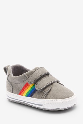 Grey Double Strap Tape Pram Shoes (0-24mths)