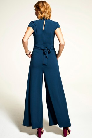 HotSquash Teal Cap Sleeved Wide Leg Jumpsuit