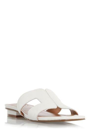 Dune London White Loupe Smart Slider Sandals