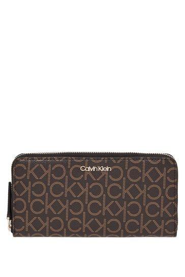Calvin Klein Brown Mono Zip Around Wallet