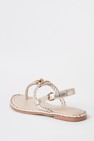 River Island Nude Ring And Rope Sandal